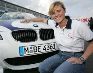 Sabine Schmitz in a racing car