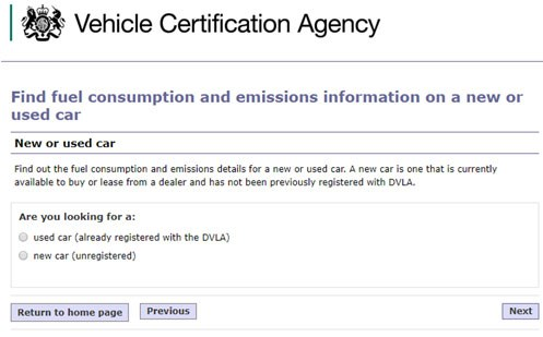 Step 1 of checking the emissions of a new car