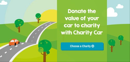 The banner on the Charity Car website, which invites you to donate your car