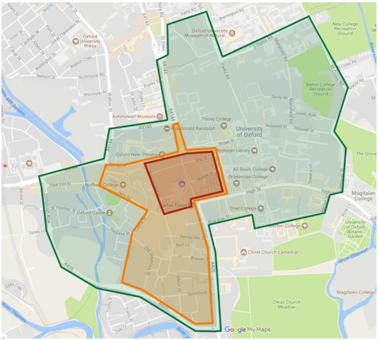 The suggested zones for Oxford's emissions free areas