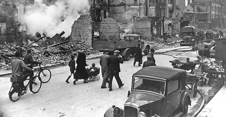 London during the Blitz. Driving tests were suspended