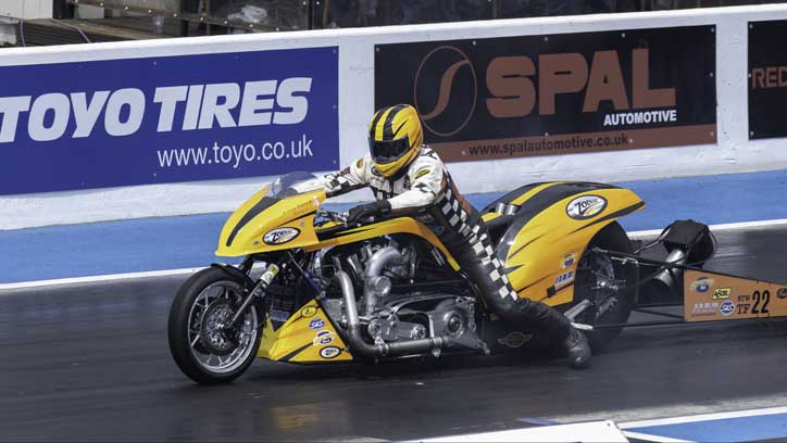 Top Fuel Bike sets off down the track. Santa Pod May 2018