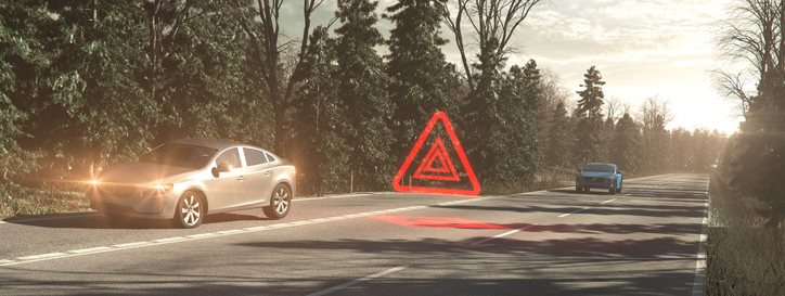 Still from an animation from Volvo showing Hazard Warning system