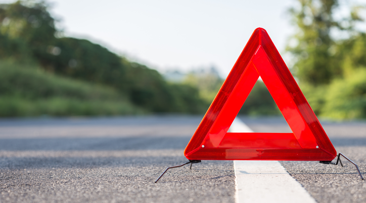 Warning triangle on the road